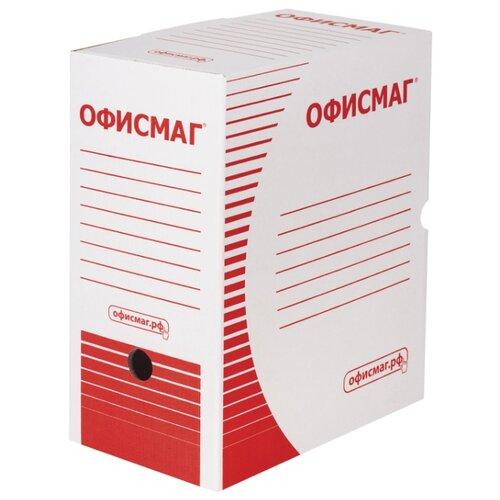 Купить ОфисМаг Короб архивный с клапаном, А4, 150 мм, микрогофрокартон белый, Файлы и папки