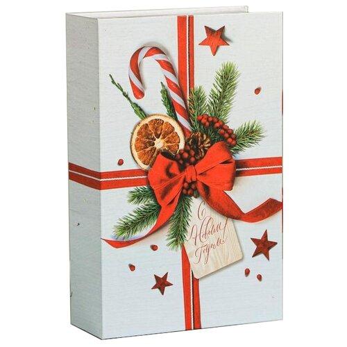 Коробка подарочная Дарите счастье Счастья!, 20 х 5 х 12.5 см белый/красный коробка подарочная дарите счастье с любовью для тебя 23 х 7 5 х 16 см красный белый