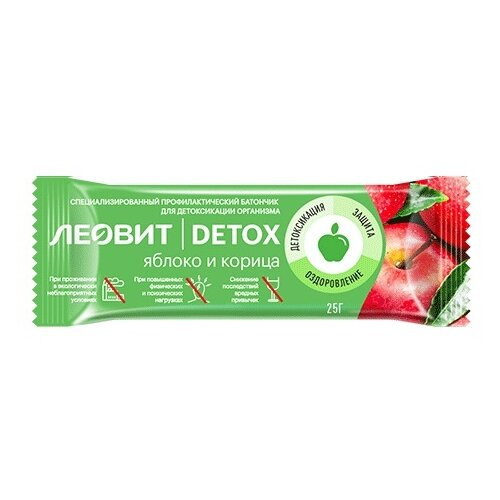 Фото - Злаковый батончик ЛЕОВИТ Detox без сахара яблоко и корица 25 г джем yummy яблоко корица без сахара 350 г