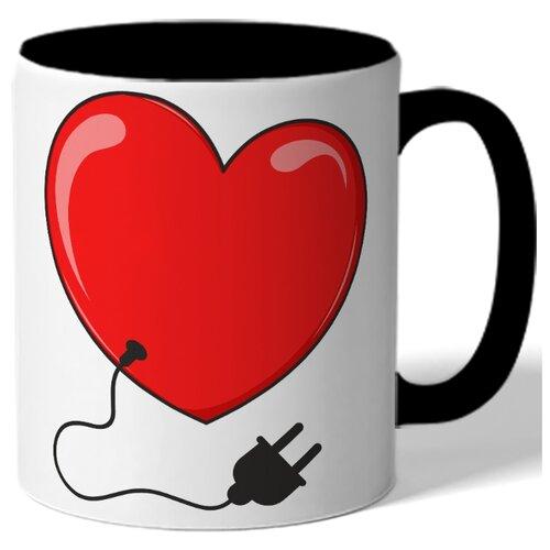Кружка цветная в подарок на 14 февраля - сердечко с проводом от разетки