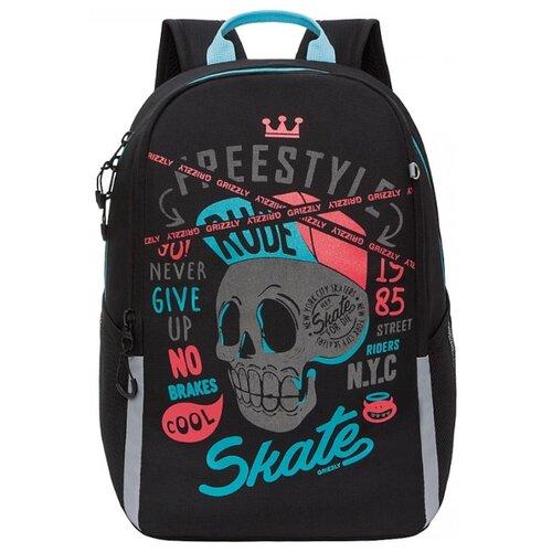 Купить Grizzly Рюкзак школьный, черный -бирюзовый, RB-151-3/2, Рюкзаки, ранцы
