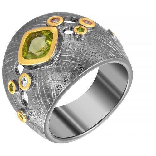 ELEMENT47 Широкое ювелирное кольцо из серебра 925 пробы с перидотами, топазами и хромдиопсидом YR01039_KO_HD_PD_BJ, размер 17- преимущества, отзывы, как заказать товар за 7904 руб. Бренд ELEMENT47