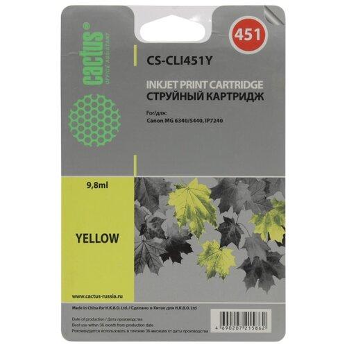 Фото - Картридж cactus CS-CLI451Y 9.8 мл., совместимый картридж cactus cs cli471xlm 10 8 мл совместимый