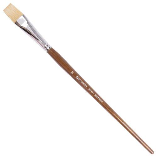 Купить Кисть BRAUBERG Classic щетина №24 плоская, длинная ручка коричневый, Кисти
