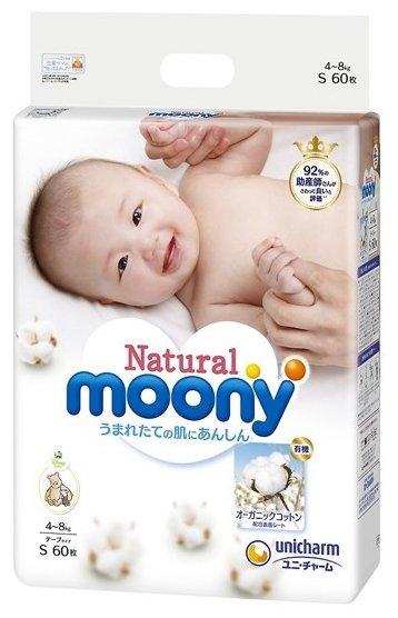 Moony подгузники Natural S (4-8 кг) 60 шт.