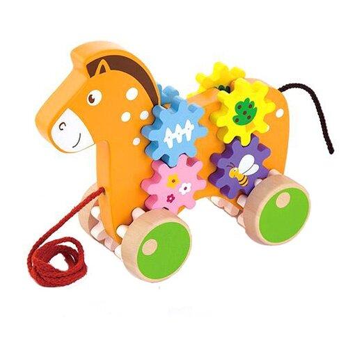 Купить Каталка-игрушка Viga Лошадь с шестернями (50976) оранжевый, Каталки и качалки
