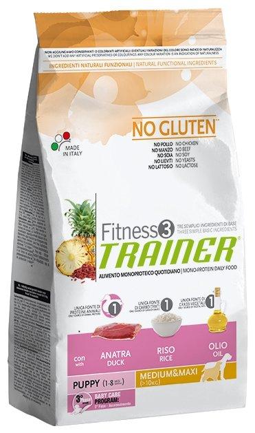 Корм для собак TRAINER Fitness3 No Gluten Puppy Medium&Maxi Duck and rice dry