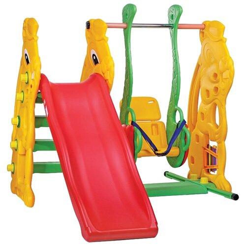 Купить Спортивно-игровой комплекс CHING-CHING SL-08 Заяц с качелями желтый/красный/зеленый, Игровые и спортивные комплексы и горки