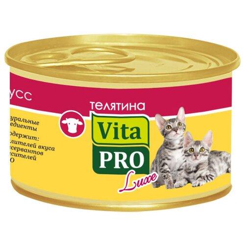 Корм для кошек Vita PRO 1 шт. Мяcной мусс Luxe для котят, телятина 0.085 кг корм для кошек vita pro мяcной мусс luxe для стерилизованных кошек свинина 0 085 кг 1 шт