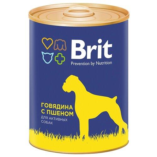 Корм для собак Brit (0.85 кг) 1 шт. Консервы для собак Говядина с пшеномКорма для собак<br>