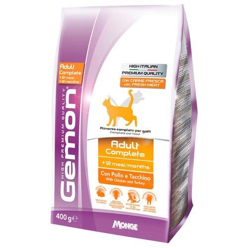 Корм для кошек Gemon Cat Adult Complete с курицей и индейкой (0.4 кг)Корма для кошек<br>