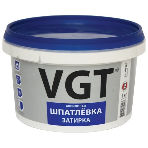 Шпатлевка VGT акриловая шпатлевка-затирка, белый, 1 кг