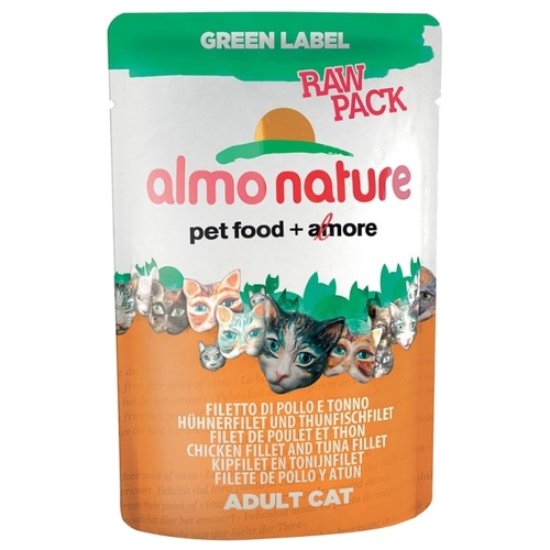 Almo Nature Green Label Raw Pack Adult Cat Chicken Fillet and Tuna Fillet (0.055 кг) 12 шт. Корма для кошек