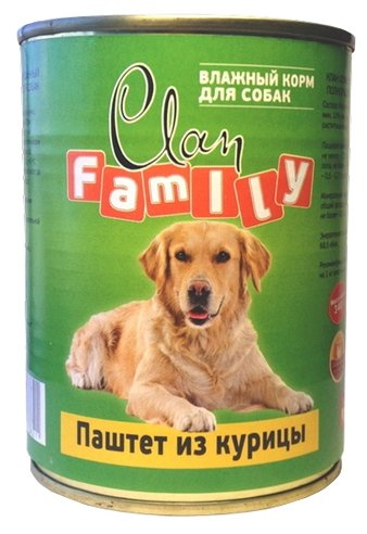 Корм для собак CLAN Family Паштет из курицы для собак (0.340 кг) 1 шт.