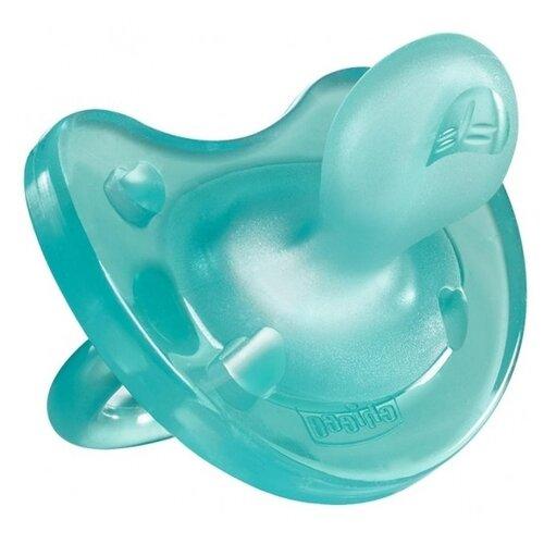 Пустышка силиконовая ортодонтическая Chicco Physio Soft 6-12 м (1 шт) голубойПустышки и аксессуары<br>