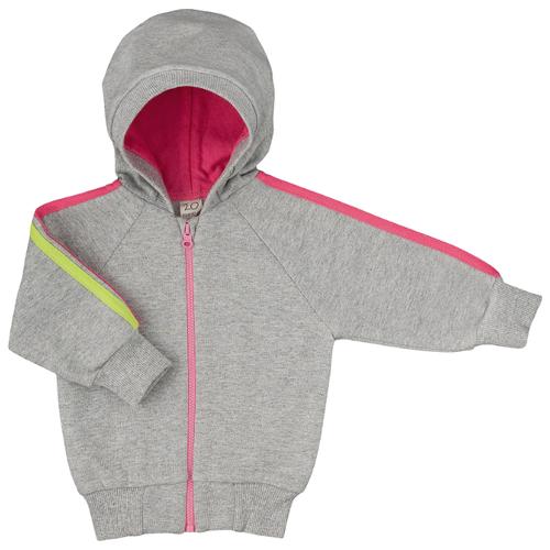 Толстовка lucky child размер 24, серый/розовый