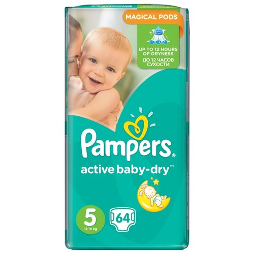 Pampers подгузники Active Baby-Dry 5 (11-18 кг) 64 шт. подгузники pampers active baby dry 5 11 16 кг 60 шт