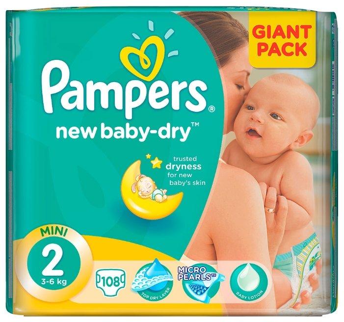 Pampers подгузники New Baby-Dry 2 (3-6 кг) 108 шт.