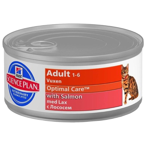 Hill's Science Plan (0.085 кг) 1 шт. Feline Adult Optimal Care with Salmon canned Корма для кошек