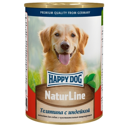 Happy Dog NaturLine для взрослых собак. Телятина с индейкой (0.4 кг) 20 шт. Корма для собак
