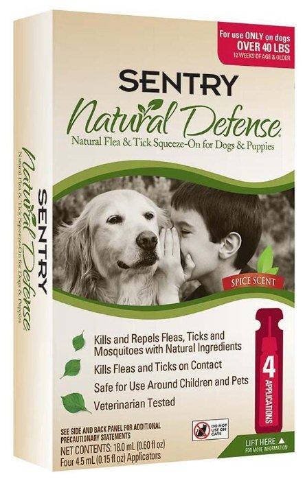 SENTRY Natural Defense капли от блох и клещей для собак от 18 кг