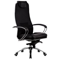 """Кресло офисное метта """"SAMURAI"""" SL-1, кевларовая ткань-сетка/кожа, черное"""