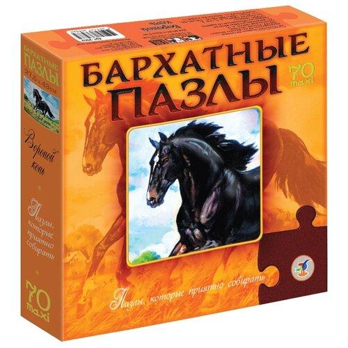 Купить Пазл Дрофа-Медиа Бархатные пазлы Вороной конь (2362), 70 дет., Пазлы