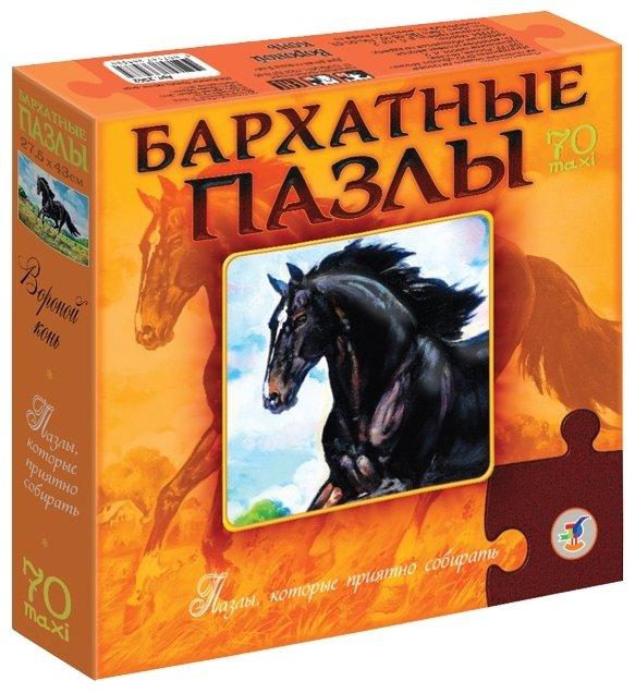 Пазл Дрофа-Медиа Бархатные пазлы Вороной конь (2362), 70 дет.