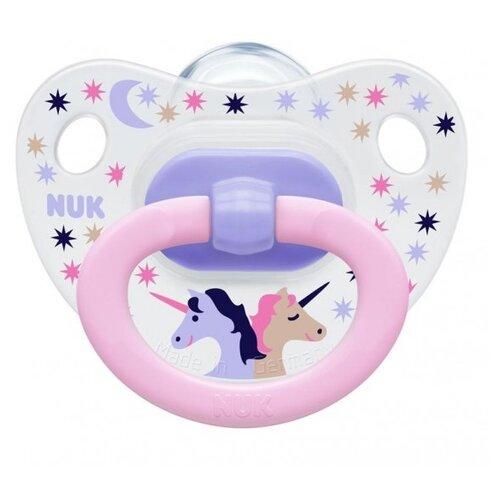 Купить Пустышка силиконовая ортодонтическая NUK Classic Happy Days 6-18 м (1 шт) розовый, Пустышки и аксессуары