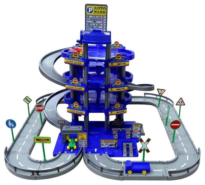 Игрушечный паркинг Wader Паркинг 4-уровневый с дорогой и автомобилями (в коробке) (синий)