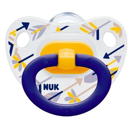 Купить Пустышка силиконовая ортодонтическая NUK Classic Happy Days 0-6 м (1 шт) синий, Пустышки и аксессуары