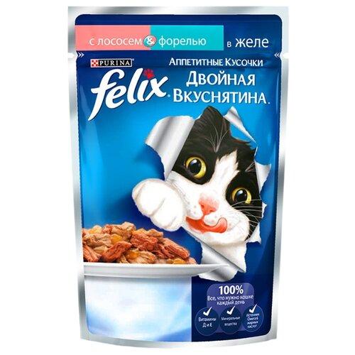 Корм для кошек Felix Аппетитные кусочки Двойная вкуснятина с Лососем и форелью в желе 24 шт. (0.085 кг)Корма для кошек<br>