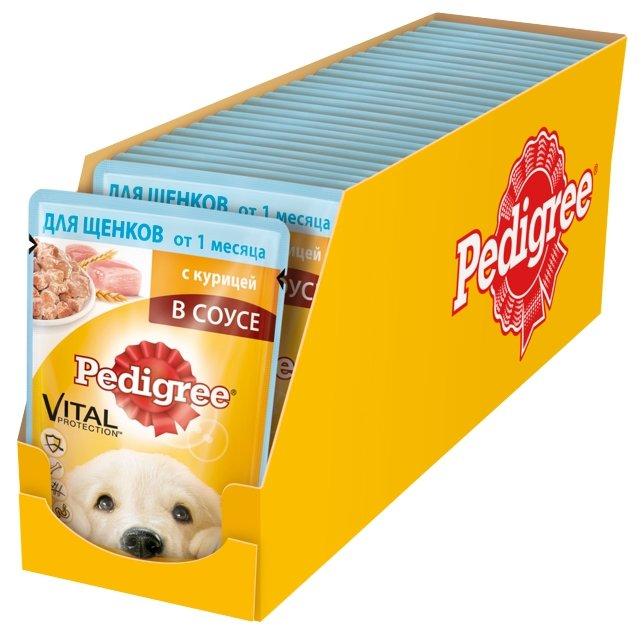 Корм для щенков Pedigree для здоровья кожи и шерсти, для здоровья костей и суставов, курица 24шт. х 85г