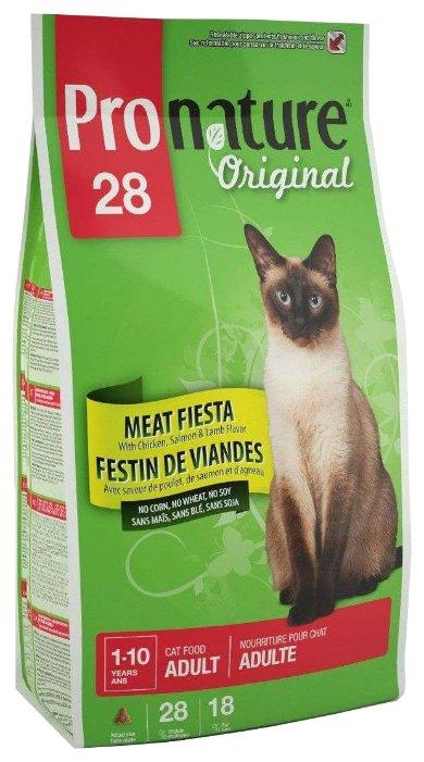 ProNature (20 кг) 28 Meat Fiesta with Chicken, Salmon & Lamb Flavor для взрослых кошек