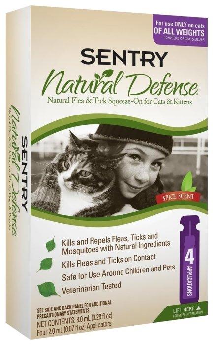 SENTRY Natural Defense капли от блох и клещей для кошек