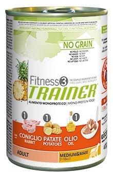 Корм для собак TRAINER Fitness3 No Grain Adult Medium&Maxi Rabbit and potatoes canned