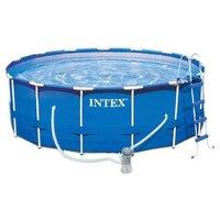Каркасный бассейн Intex Metal Frame Pool 28218 366х98см (видео, фильтр-насос 220В, лест.)