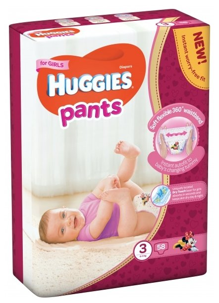Huggies трусики для девочек 3 (6-11 кг) 58 шт.