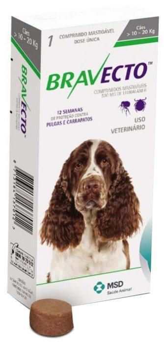Препарат для собак INTERVET Бравекто от блох и клещей 10-20 килограмм, 1таб на 3мес. 500мг