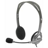 Гарнитура Logitech H110, Stereo, накладные, 3.5 мм, 1.8 м, серебристый. - фото 1