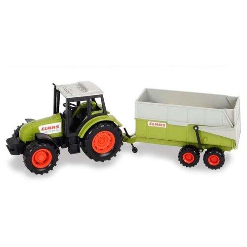 Купить Трактор Dickie Toys с прицепом (3736004) 38 см зеленый/белый, Машинки и техника