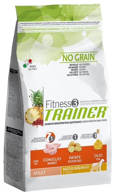 Корм для собак TRAINER Fitness3 No Grain Adult Medium&Maxi Rabbit and potatoes dry