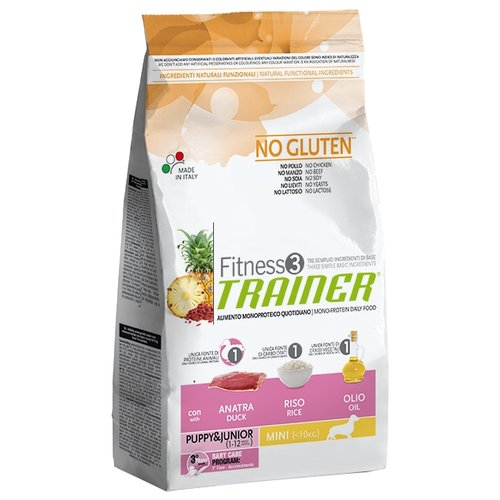 Корм для собак TRAINER Fitness3 No Gluten Puppy&Junior Mini Duck and rice dry (2 кг) сухой корм trainer fitness3 no gluten mini adult lamb