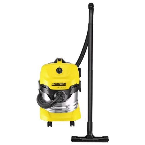 Профессиональный пылесос KARCHER WD 4 Premium 1000 Вт серебристый/желтый