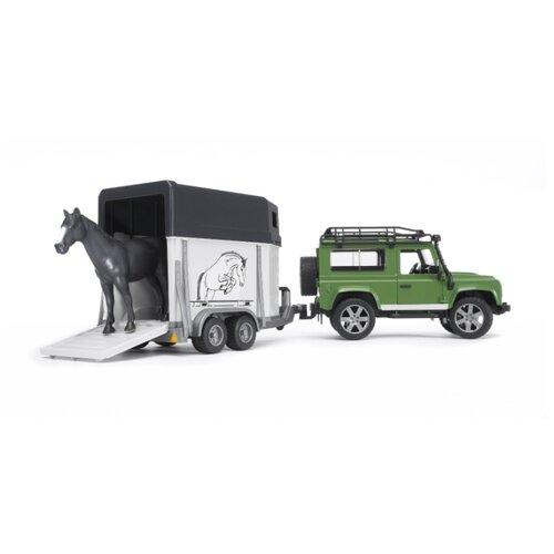 цена на Внедорожник Bruder Land Rover Defender с прицепом-коневозкой и лошадью (02-592) 61 см зеленый/белый/черный