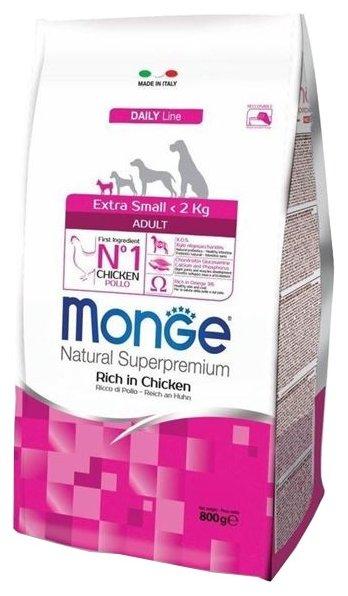 Корм для собак Monge Dog Extra Small Adult – Курица с рисом. Для взрослых собак миниатюрных пород