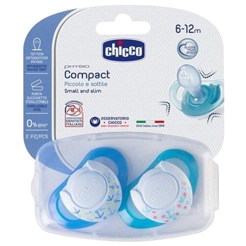 Пустышка силиконовая ортодонтическая Chicco Physio Compact 6-12 м (2 шт) голубой/синийПустышки и аксессуары<br>