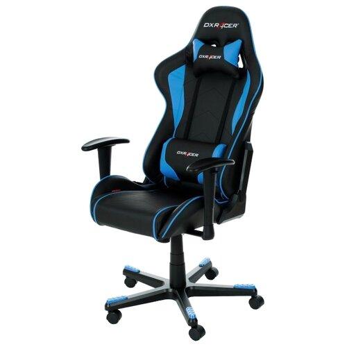 Компьютерное кресло DXRacer Formula OH/FE08 игровое, обивка: искусственная кожа, цвет: черный/синий игровое компьютерное кресло oh dj188 n