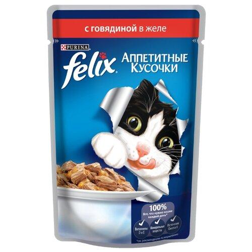 Корм для кошек Felix (0.085 кг) 24 шт. Аппетитные кусочки с Говядиной в желеКорма для кошек<br>