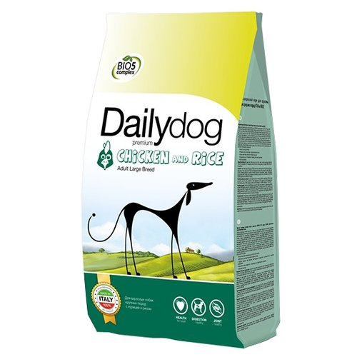 Сухой корм для собак DailyDog курица, с рисом 20 кг (для крупных пород) сухой корм для собак brooksfield курица с рисом 3 кг для крупных пород